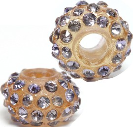 2pc 3.5mm Hole Rhinestone Beads Light Tan Clear 3MZ05