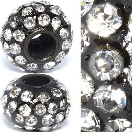 2pc 3.5mm Hole Rhinestone Beads Black Silver Clear 3MZ10
