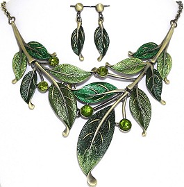 "20"" Necklace Earrings Set Leaf Gold Bronze Green AE031"