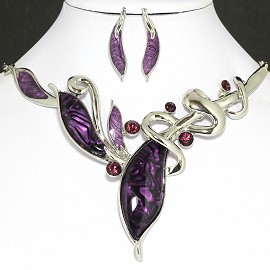Necklace Earrings Set Leaf Silver Purple AE037