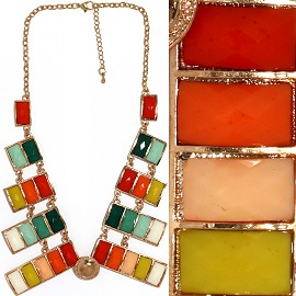 "Antique Necklace 17"" Rectangle Gold Multi Color AE068"
