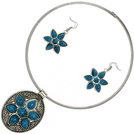 Solid Choker Necklace Earring Set Oval Star Silver Teal AE124