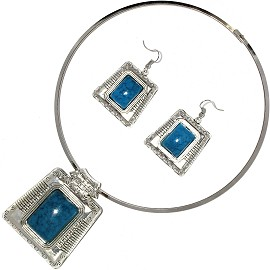Solid Choker Necklace Earring Set Square Silver Teal AE135