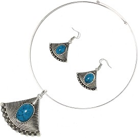 Solid Choker Necklace Earring Set Triangle Silver Teal AE143