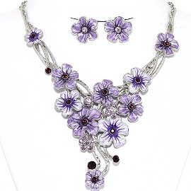 Necklace Earrings Set Flowers Pastel Silver Lavender AE215