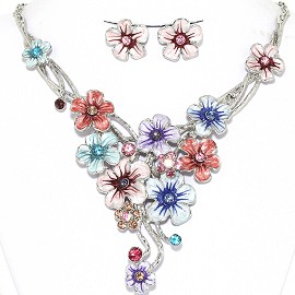 Necklace Earrings Set Flowers Pastel Silver Multi Color AE218