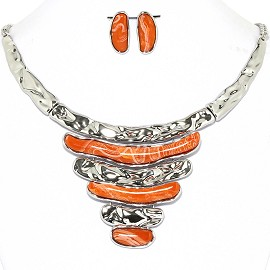 Necklace Earrings Set Horizontal Lines Silver Orange AE221