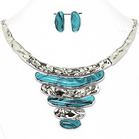 Necklace Earrings Set Horizontal Lines Silver Turquoise AE222