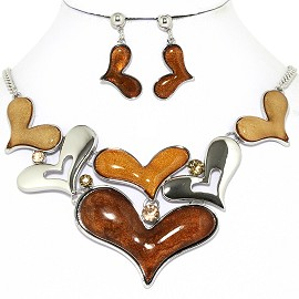 Necklace Earrings Set Cartoon Hearts Silver Brown Tan AE223