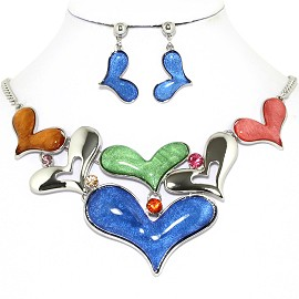 Necklace Earrings Set Cartoon Hearts Silver Multi Colors AE224