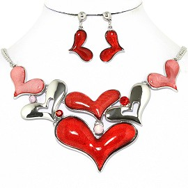 Necklace Earrings Set Cartoon Hearts Silver Red Pink AE225