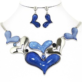 Necklace Earrings Set Cartoon Hearts Silver Blue AE227