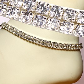 Anklet Stretch Crystal Rhinestone Silver Clear Wide AKT03