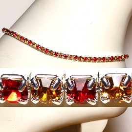 Anklet Stretch Crystal Rhinestone Gold Red AKT09