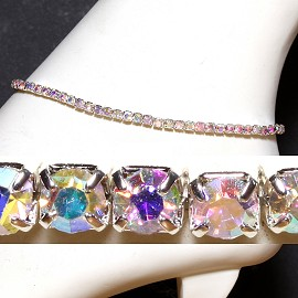 Anklet Stretch Crystal Rhinestone Clear Aura AKT10