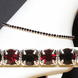 Anklet Stretch Crystal Rhinestone Black Red AKT12