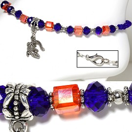 "9.5"" Anklet Crystal Cube Beads Gator Silver Orange Blue AKT26"