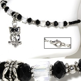 "9.5"" Anklet Crystal Cube Beads Rhinestone Owl Black Clear AKT27"
