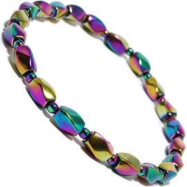 "9"" Magnetic Stretch Anklet Bracelet RecBead AB Gold Purple AKT30"