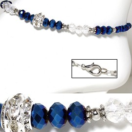 "9.5"" Anklet Crystal Beads Rhinestone Wheel Silver Blue AKT34"
