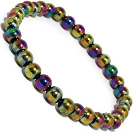 Stretch Anklet Magnetic Beads Aurora Borealis Purple Gold AKT44