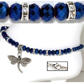 "9.5"" Anklet Crystal Beads Rhinestones Dragonfly Dark Blue AKT65"