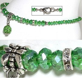 "9.5"" Anklet Crystal Beads Rhinestones Disco Ball Green AKT69"
