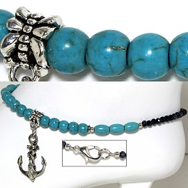 "9.5"" Anklet Crystal Beads Ship Anchor Earth Stone Turquois AKT73"