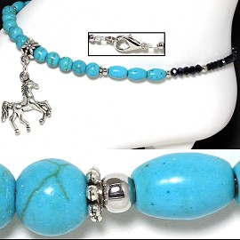 "9.5"" Anklet Earth Stone Beads Horse Turquoise Black AKT48"