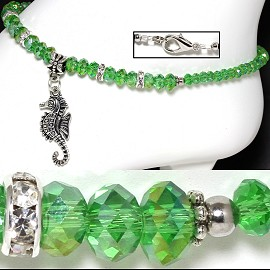 "9.5"" Anklet Crystal Beads Rhinestones Seahorse Green AB AKT51"