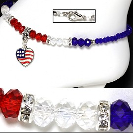 "9.5"" Anklet Crystal Beads Rhinestones Heart Red White Blue AKT54"