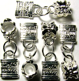 Beads 5pcs Charms Pack Silver Lock BD076