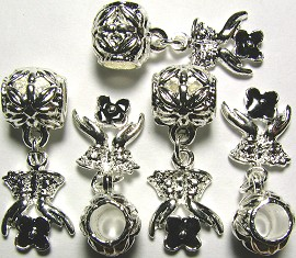 5pcs Charms Hands Flower Silver Black BD080