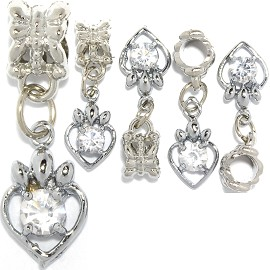 5pc Charm Heart Outline Rhinestone Silver Clear BD1005