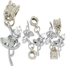 5pc Charm Rhinestone Rose Silver Clear BD1016