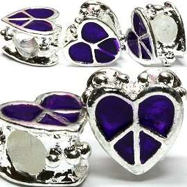 3pcs Charms Heart Peace Sign Purple BD1019