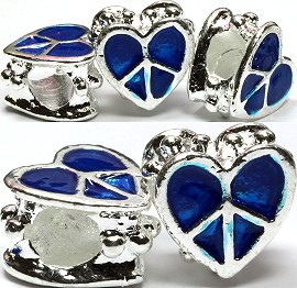 3pcs Charms Heart Peace Sign Blue BD1023