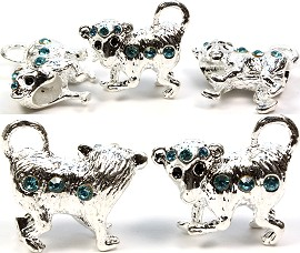 3pc Charm Monkey Silver White Rhinestone Teal Screw BD1036