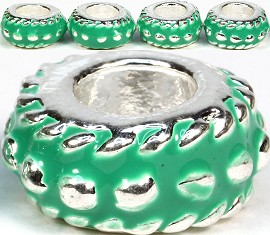 5pc Charm Round Silver Dots Green BD1067