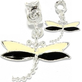2pc Charm Dragonfly Cream Black Silver BD1116