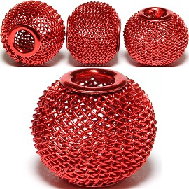 4pcs Mesh Beads Metal Link 16x13mm Dark Red BD1134