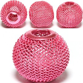 4pcs Mesh Beads Metal Link 16x13mm Pink BD1144