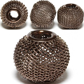 4pcs Mesh Beads Metal Link 16x13mm Metallic Brown BD1150