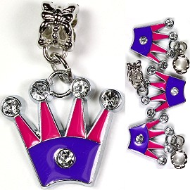4pc Charm Crown Pink Purple Rhinestone BD1157