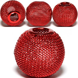 4pcs Mesh Beads Metal Link 20mm Dark Red BD1164