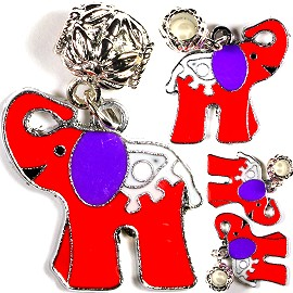 4pc Charm Elephant Red White BD1190