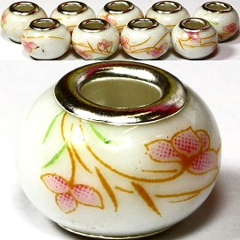 8pcs Ceramic Bead Flower White Brown BD1219