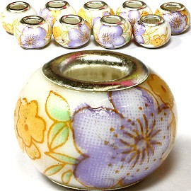 8pcs Ceramic Bead Flower Yellow Purple BD1232