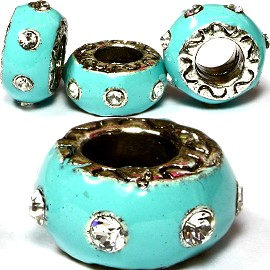 3pcs Charms Donut Sky Blue Crystal Clear BD1241
