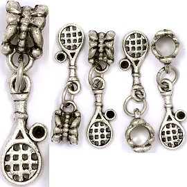 5pcs Charm Tennis Racket and Ball Silver BD1278